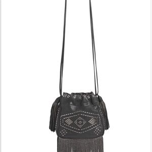 SAINT LAURENT Helena Stud & Fringe Bucket  Bag